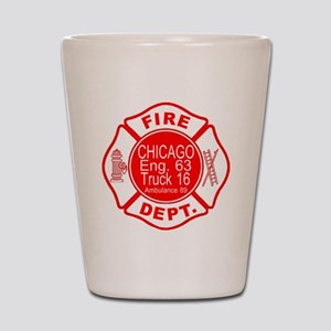 2-cfd maltese outline filled in fire de Shot Glass
