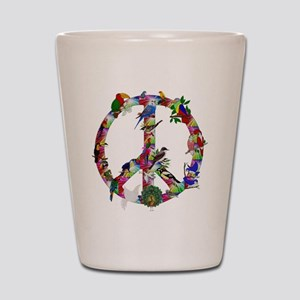 Colorful Birds Peace Sign Shot Glass