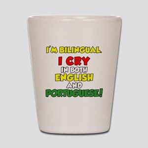 Bilingual English and Portuguese Shot Glass