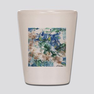 Blue and Brown Abstract Shot Glass