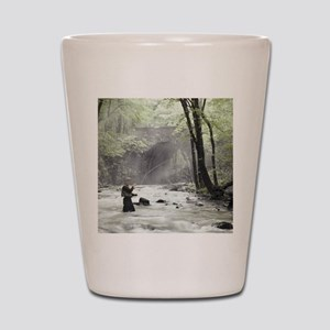 Fly Fisherman in Misty Stream Shot Glass