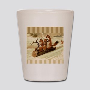 Winter Foxes Sledding Shot Glass