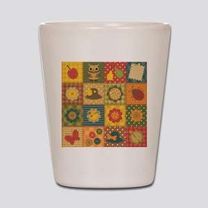 Country Patchwork Shot Glass