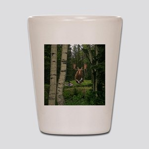 Moose at water hole Shot Glass
