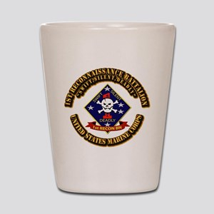 1st - Reconnaissance Bn With Text USMC Shot Glass