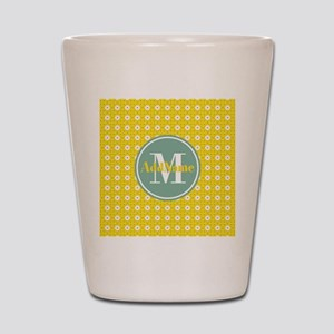 Yellow Floral Pattern Mint Monogram Shot Glass