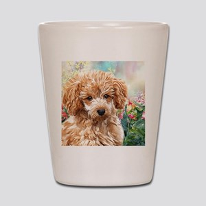 Poodle Painting Shot Glass