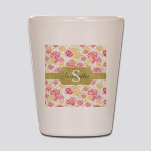 Shabby Chic Floral Monogram Shot Glass