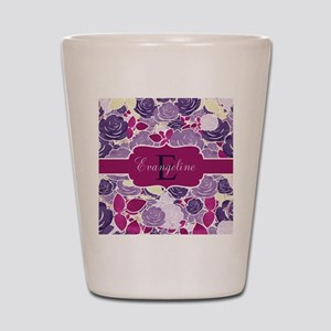 Navy Blue Rose Monogram Shot Glass