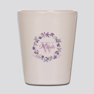 Monogram Watercolor Floral Wreath Shot Glass