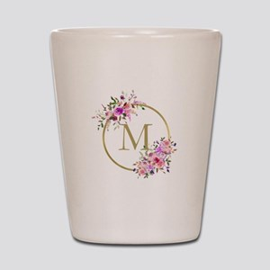 Floral and Gold Monogram Shot Glass
