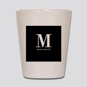 Black and White Monogram Name Shot Glass