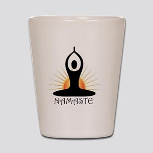 Morning Yoga, Rising Sun, Namaste Shot Glass