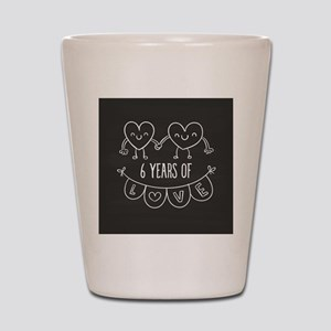 6th Anniversary Gift Chalkboard Hearts Shot Glass