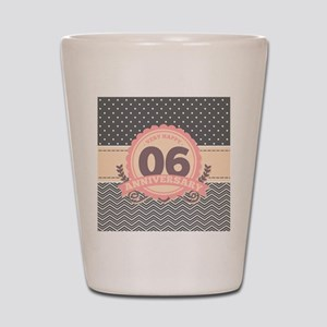 6th Anniversary Gift Chevron Dots Shot Glass