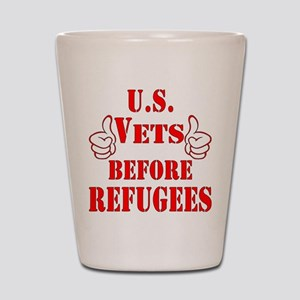 US Vets Before Refugees Shot Glass