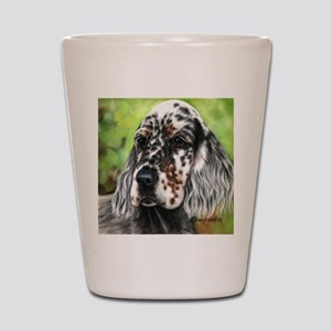 English Setter pup by Dawn Secord Shot Glass