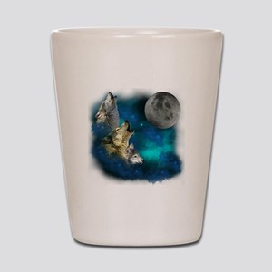 Northern Lights Wolfs Family Moon Shot Glass