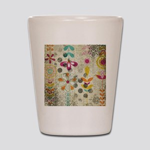 Bohemian Boho Flowers Shot Glass