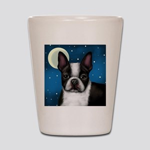 boston terrier moon Shot Glass