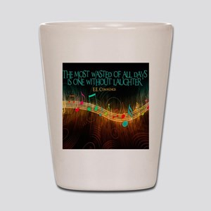 Without Laughter Quote on Tile Coaster, Shot Glass