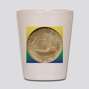 Pilgrim Tercentenary Half Dollar Coin  Shot Glass
