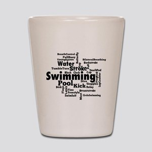 Swim Word Clouc Shot Glass