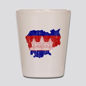 Cambodia Flag And Map Shot Glass