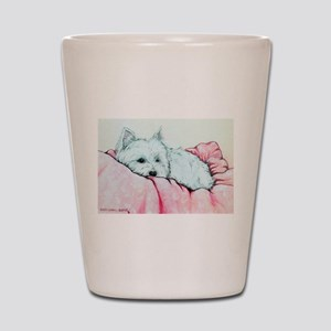 Sleepy Westie Shot Glass