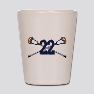 Lacrosse 22 Orange and Blue Shot Glass