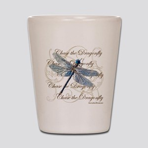 Blue Dragonfly Collage Shot Glass