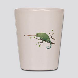 Chameleon catching insect Shot Glass