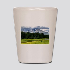 Mountains,River and Forest Landscape Shot Glass