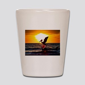Pelican On Ocean At Sunset Shot Glass