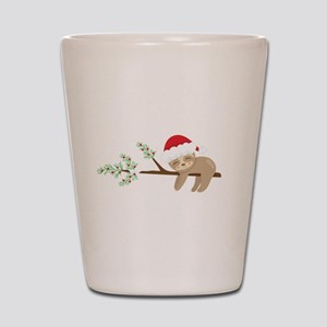 Christmas Sloth Santa Hat Sloth Sleepin Shot Glass