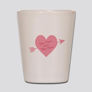 Personalized Valentine Heart With Arrow Shot Glass