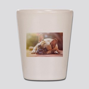 french bulldog laying Shot Glass