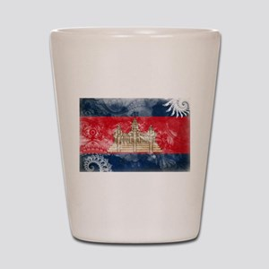 Cambodia Flag Shot Glass