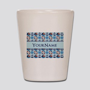 Sailor Nautical Monogram Personalized Shot Glass