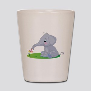 Baby Elephant with Flower Shot Glass