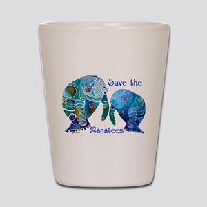 Two Save The Manatees in Blue Shot Glass