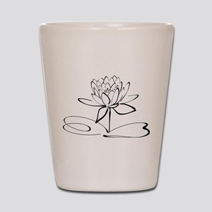 Sketch Outline of Lotus Blossom Shot Glass