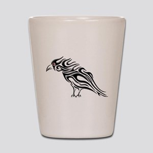 Glossy Black Raven Tattoo Shot Glass