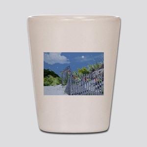 Beach Dune and Fence with Xmas Lights a Shot Glass