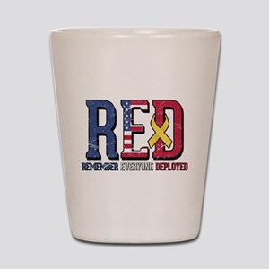 RED Remember Everyone Deployed Shot Glass