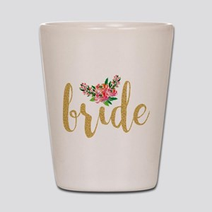 Gold Glitter Bride text floral accent Shot Glass
