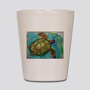 Sea turtle! Wildlife art! Shot Glass