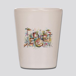 Hand drawn colored musical instruments Shot Glass