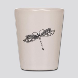 Metallic Silver Dragonfly Shot Glass
