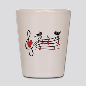 Cute Musical notes and love Birds Shot Glass